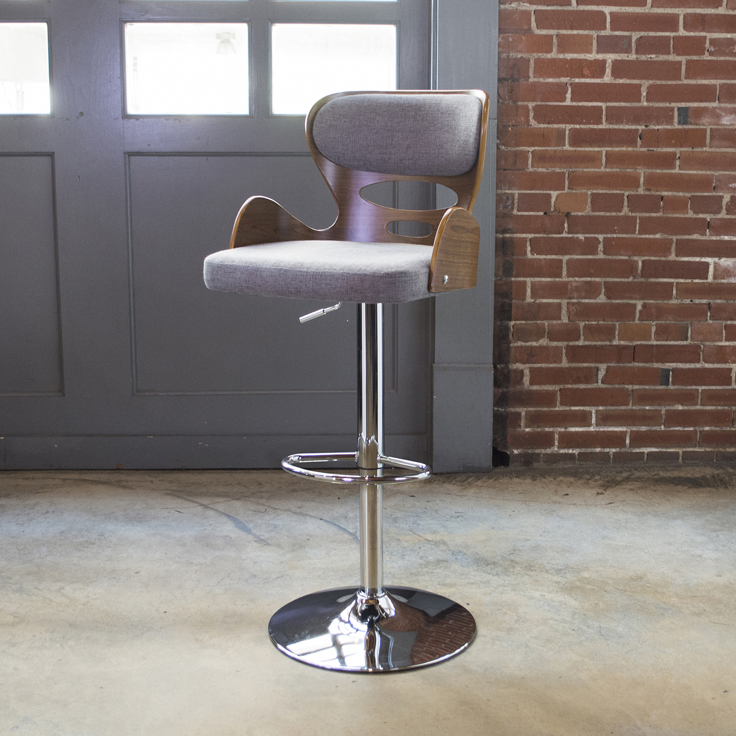 BSBWWPG3 Bent Wood Grey Fabric Bar Stool